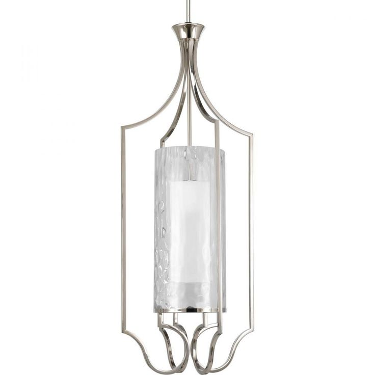 One-light large foyer pendant. Caress features a chic, sophisticated three-light chandelier featuring a Polished Nickel metal frame with layered glass diffusers to cast a glimmering light. An outer shade of clear, water glass adds rich texture and playful reflections from a central etched glass diffuser. http://lightingspecialists.com/brand-progress/1-lt-large-foyer-pendant/p3947-104/sku-1N4WY