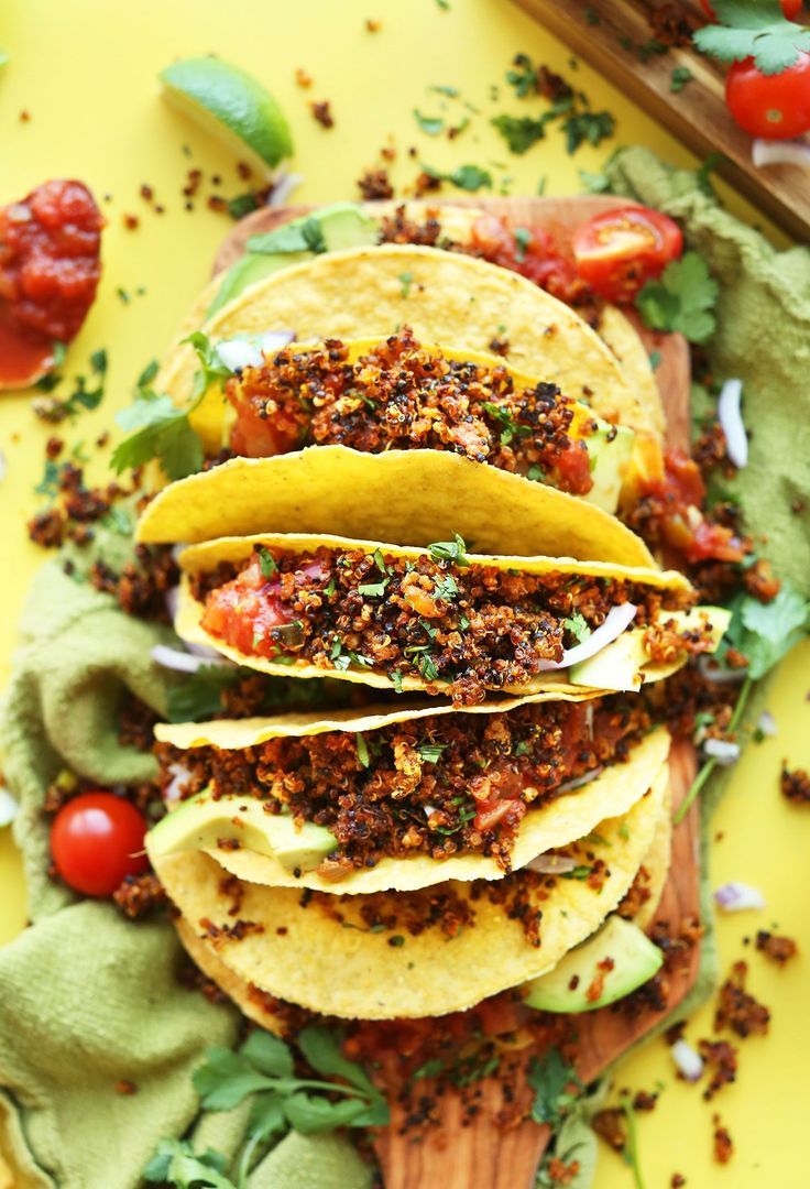 "Amazingly flavorful quinoa taco ""meat"" made with quinoa, smoky seasonings, and salsa! Baked until hot and crispy. A healthy substitute for ground beef!"