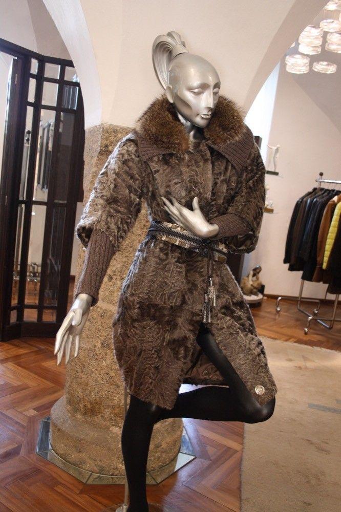 Mantel Asiatisches Lamm/Strick/Waschbär