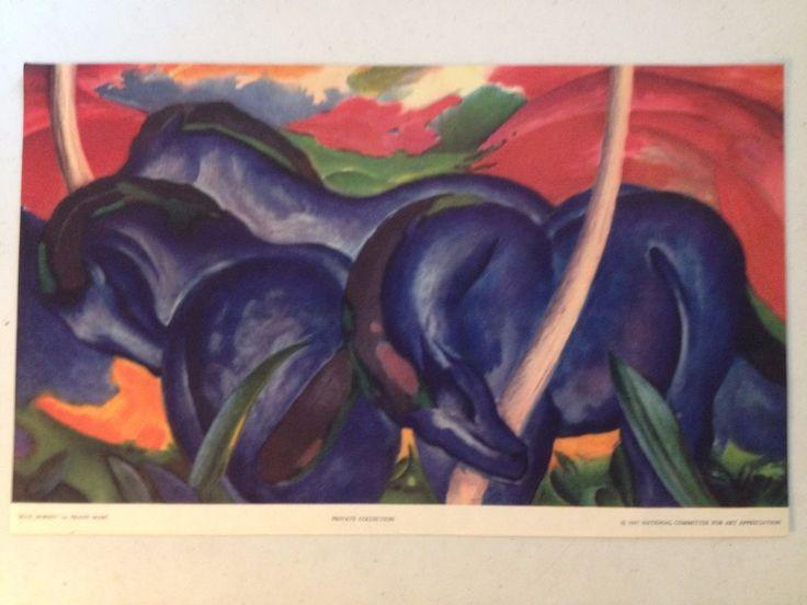 1937 Metropolitan Museum Art BLUE HORSES by FRANZ MARC PRINT National Committee