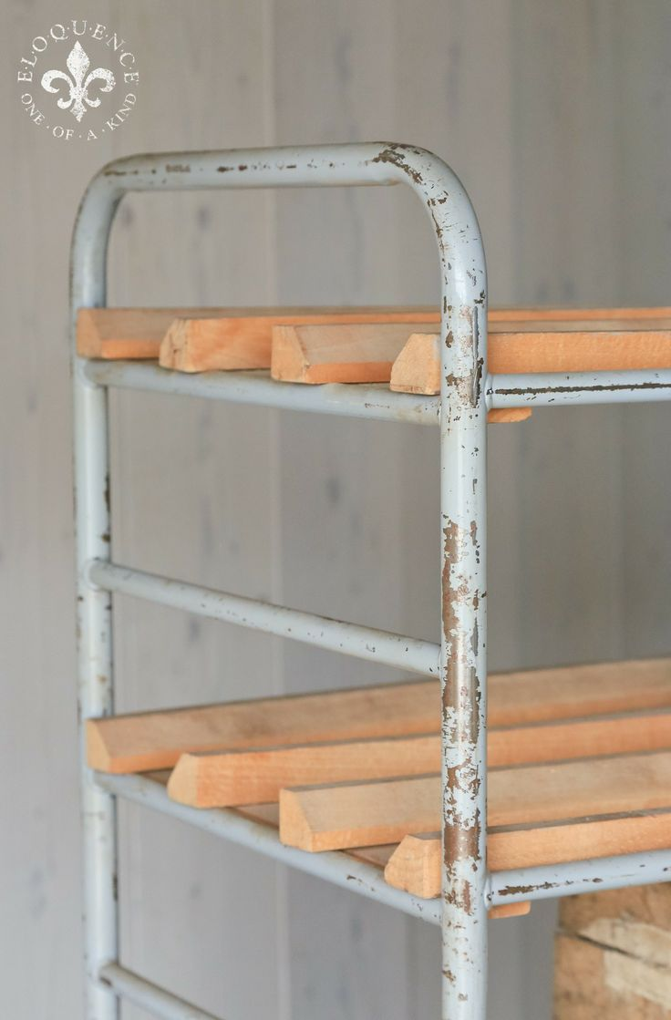 very cool vintage bread racks in original grey painted finish would make a fantastic place