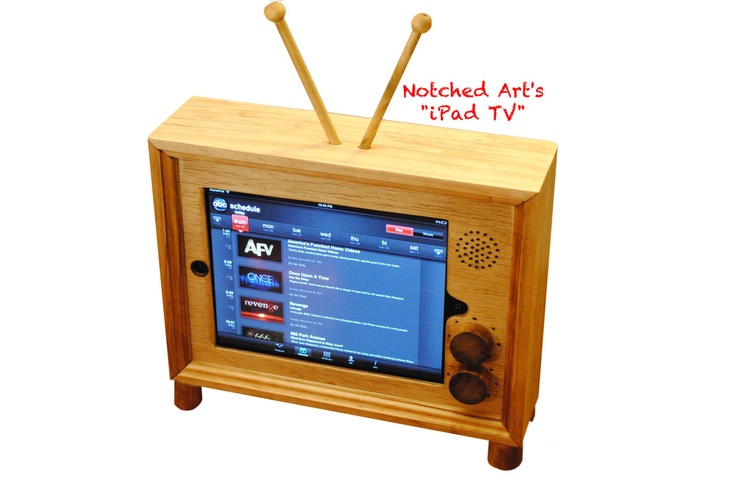 "The retro style ""iPad TV"" custom hand made wooden docking stand for iPad 1, 2, 3 and 4. $149.00, via Etsy."