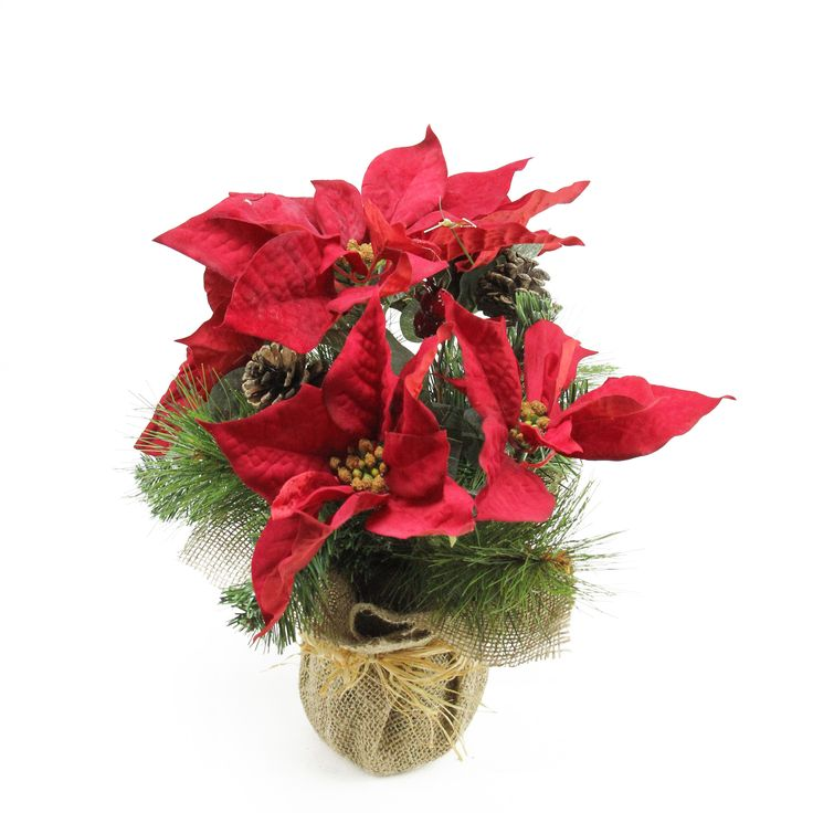 """14"""" Artificial Red Berry and Poinsettia Flower Decoration with Pine Cones In Burlap Pot"""