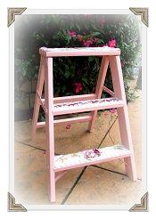 SOLD SOLD Cute Pink Vintage Rose Mosaic Ladder