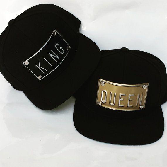 KING QUEEN metal plate embossed snapbacks hat by rojasclothing