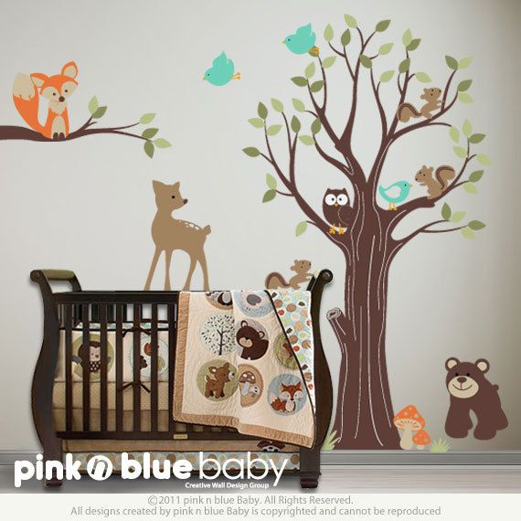 Adorable Animal Friends with Tree Nursery Wall by pinknbluebaby
