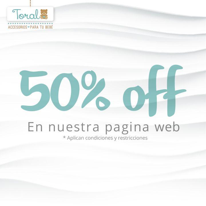 50% de descuento comprando en nuestra pagina web www.bebetoral.com Oferta válida hasta agotar existencias en Entrenador mis primeros pasos, Cojín embarazo y Colchones para cuna acolchados.