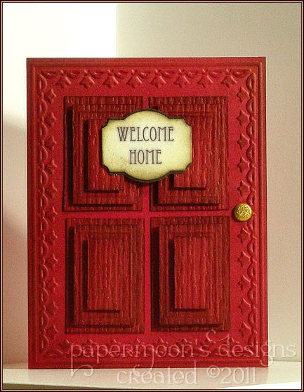 Items similar to Welcome - Welcome Red Door Name Banner Stamped Embossed Card on Etsy