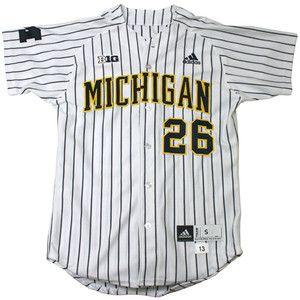The M Den - University of Michigan Baseball Authentic White #26 Pinstrip
