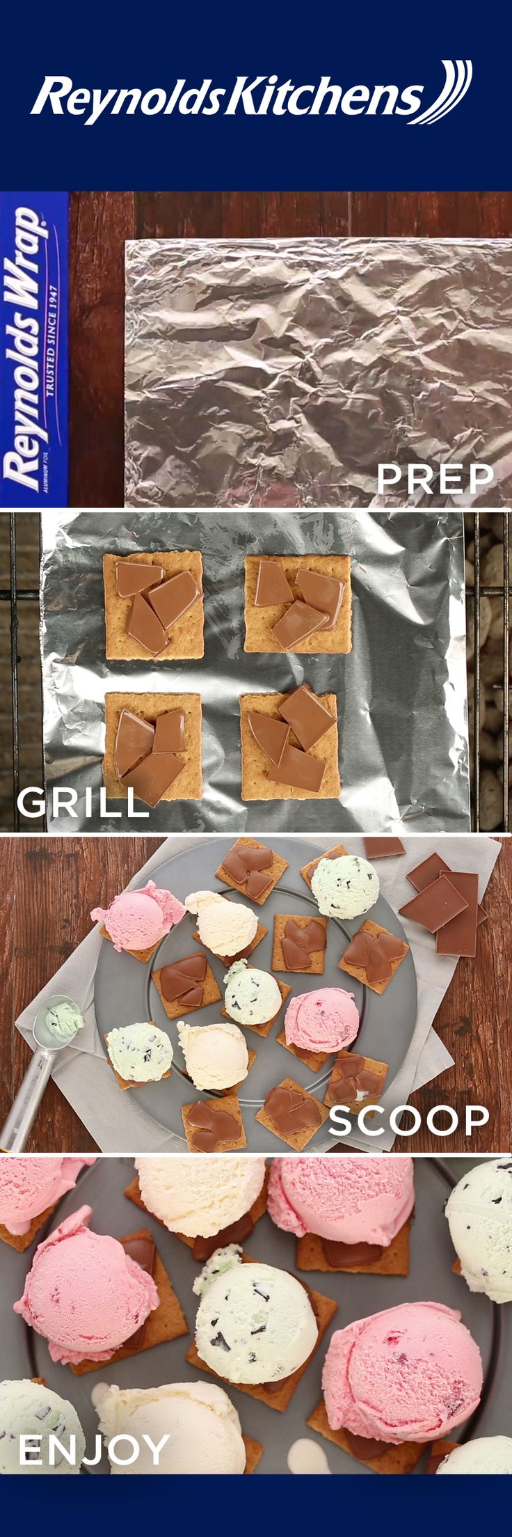 There's no summer treat quite like a s'more! For a cool twist on a classic recipe, try our Grilled S'mores Ice Cream Sandwiches. They're so simple and delicious, you'll keep coming back for more! Use Reynolds Wrap® for quick and easy grilling, no bonfire or cleanup necessary. Prepare the s'mores, throw them on the grill, top with ice cream, and enjoy!