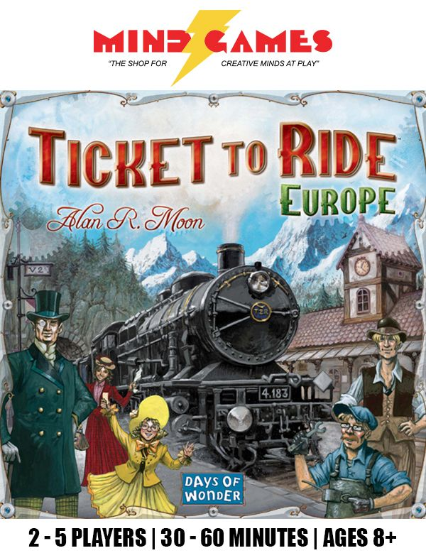 From the craggy hillsides to the sunlit docks of Constantinople, from the dusty alleys of Pamplona to a windswept station, Ticket to Ride: Europe takes you on an exciting train adventure through the great cities of turn-of-the-century Europe. More than just a new map, Ticket to Ride: Europe offers you brand new game play elements including Tunnels, Ferries and Train Stations. Plus, we've upgraded you to First-Class accommodations with larger cards, new Train Station game pieces, and a…