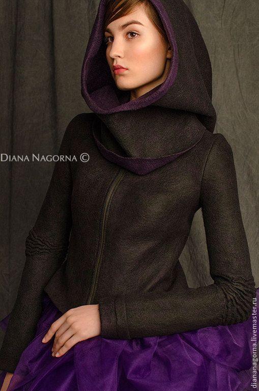 """Купить Куртка из мериносовой шерсти """"Space girl"""" - тёмно-фиолетовый, однотонный, куртка, куртка женская"""