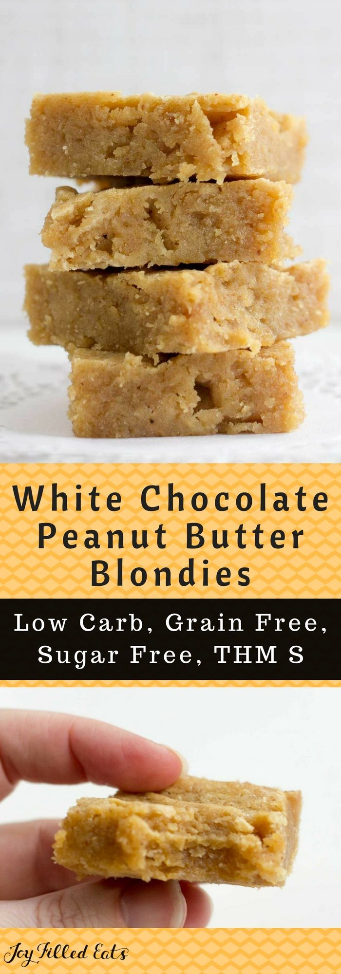 White Chocolate Peanut Butter Blondies - Low Carb, Grain & Sugar Free, THM S via @joyfilledeats