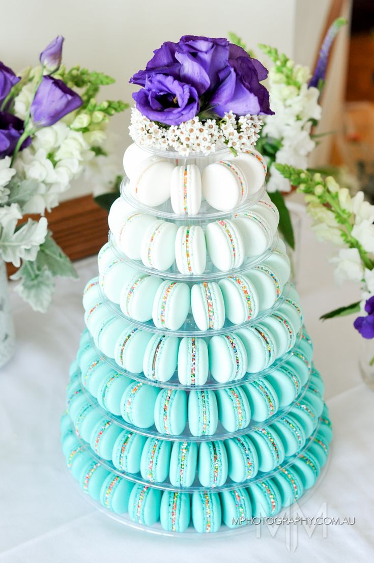 Stunning Turquoise ombre macaron tower by Moreish Macarons