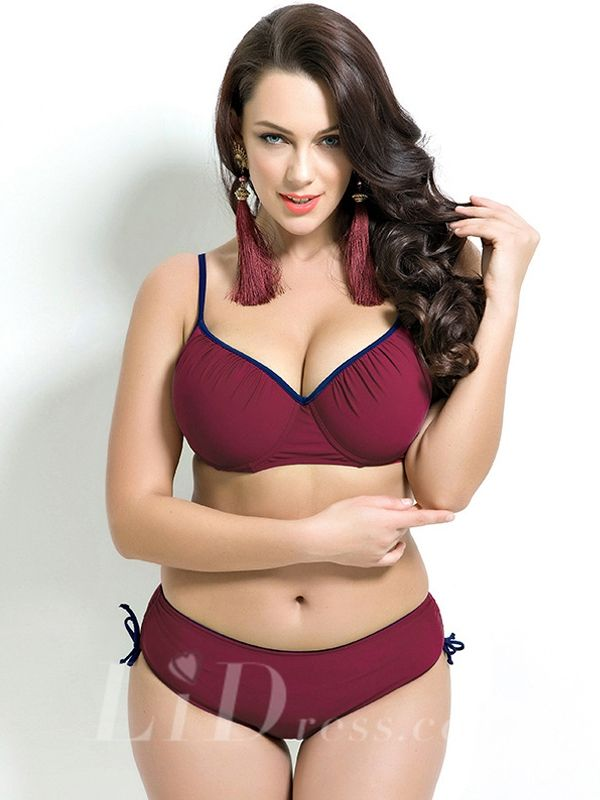 High Waist Plus Size Two-Piece Bikini Lidyy1605201036
