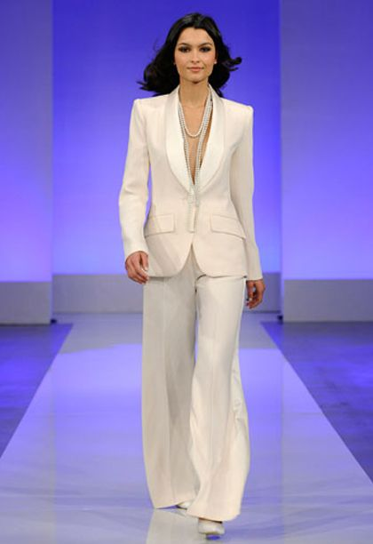 White Wedding Pant Suits - Shawl Collar Pant Suit by Cymbeline