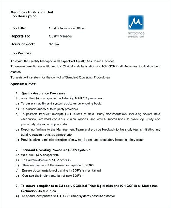 Quality Assurance Officer Job Description  Quality Assurance