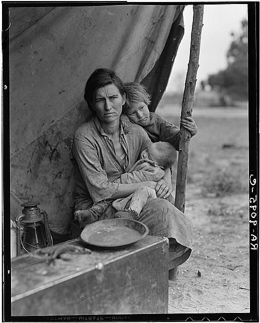 """""""Migrant Mother"""" Florence Owens Thompson in 1936. Photographed by Dorothea Lange cataloguing faces of the Great Depression for the FSA."""