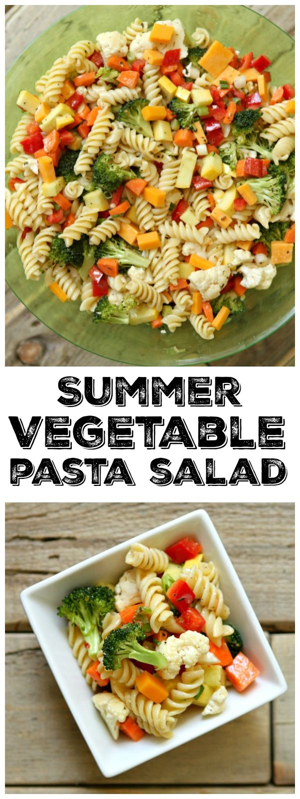 Easy Summer Vegetable Pasta Salad recipe: perfect for summer holiday parties, BBQ's and potlucks.