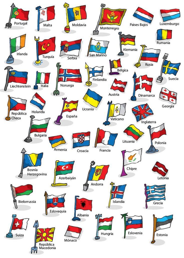 Ilustrador Alexiev Gandman: Banderas de Europa