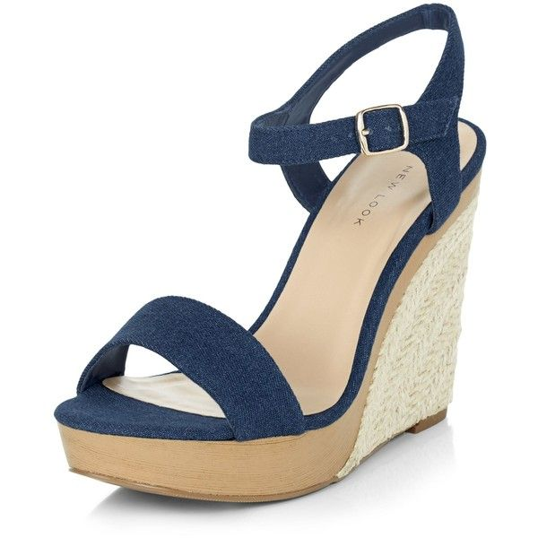 New Look Navy Denim Ankle Strap Espadrille Wedges ($37) ❤ liked on Polyvore featuring shoes, sandals, navy, navy wedge espadrilles, ankle strap sandals, navy blue wedge sandals, open toe sandals and wedge heel sandals