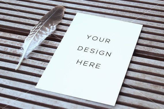 Wedding Mockup Feather Paper Mock greeting card by confettibears