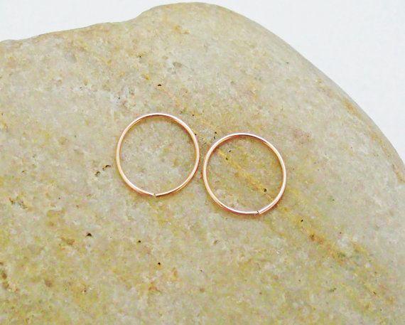 14K Rose Gold Cartilage Hoop Earrings 22 by KarynHaydenDesigns