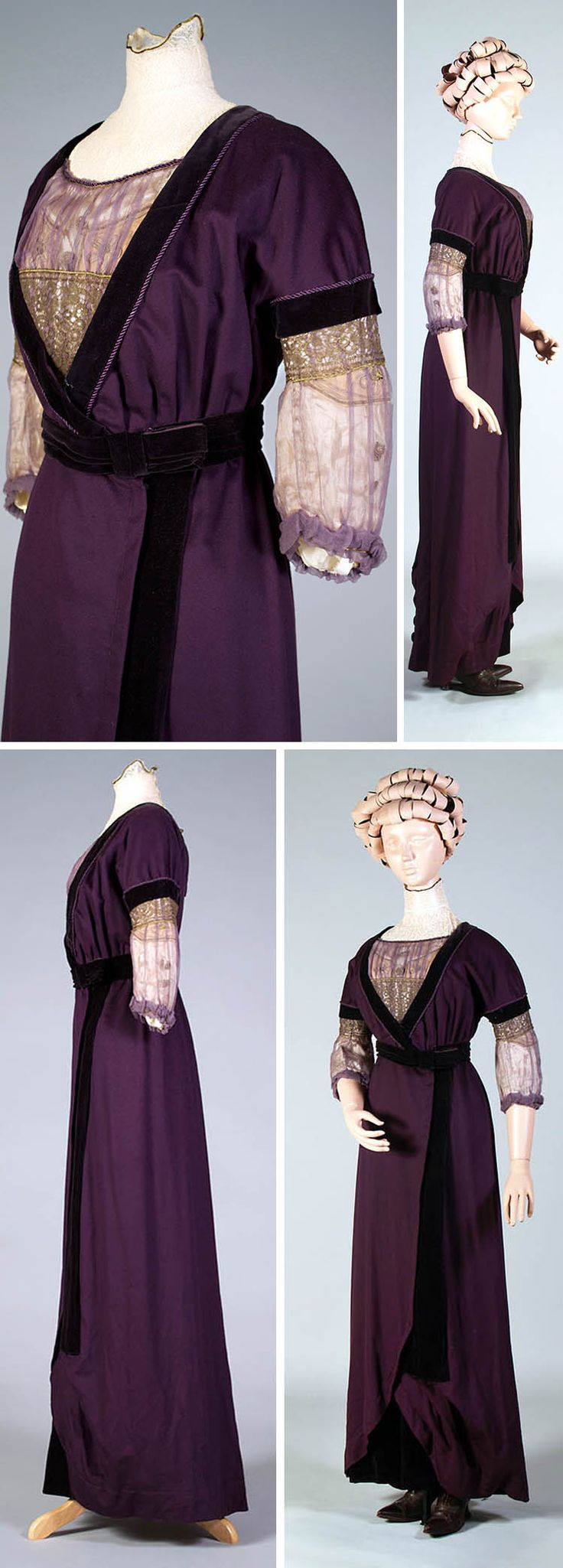 """Purple wool & velvet dress ca. 1912. Kent State Univ. Museum blog: """"[A]t the turn-of-the-century, the shape of corsets changed significantly and created a different silhouette. Rather than pushing the bust upwards and creating fullness nearer the armpits, the corsets allowed the bustline to fall much lower as the chest was pushed forward and the hips backwards. The sideview of the dress on the two different mounts shows how the differences in body shape change the way the dress hangs."""""""