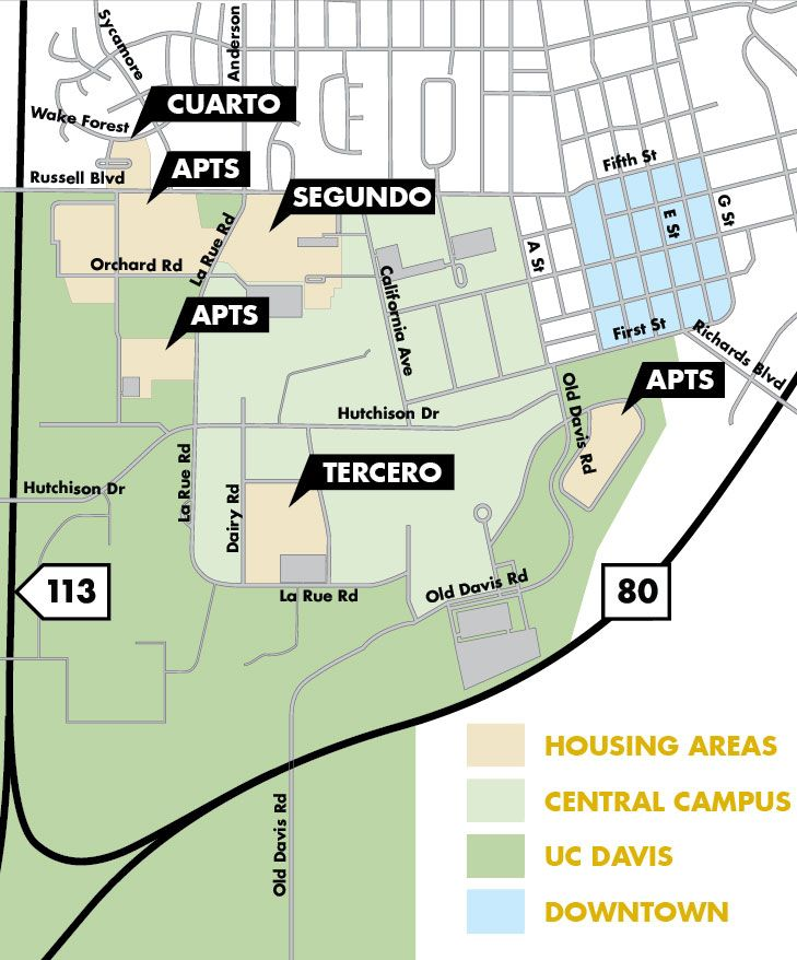 Diagram of the UC Davis campus, including freeways and main roads