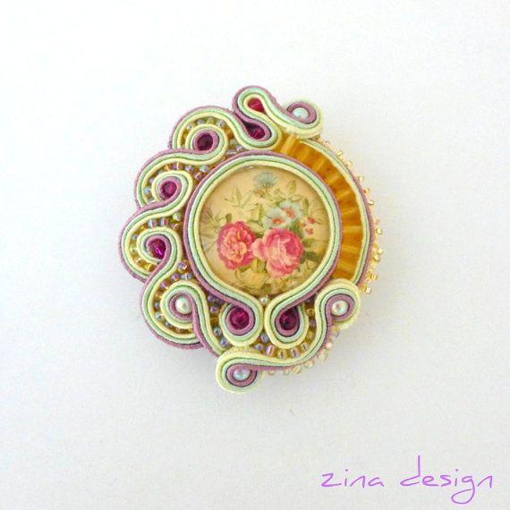 Vintage Rose Soutache Brooch Light Beige by SpotsandDotsDesign, $60.00