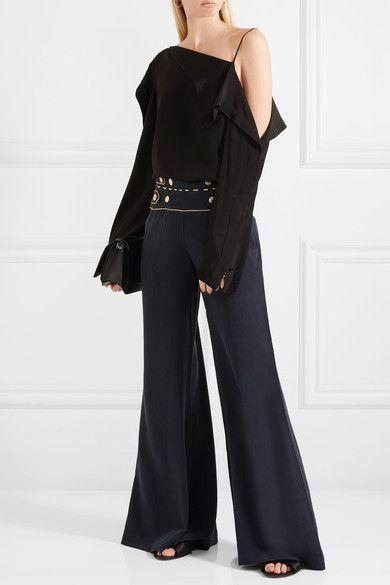 Pierre Balmain - Washed-silk Wide-leg Pants - Navy - FR42