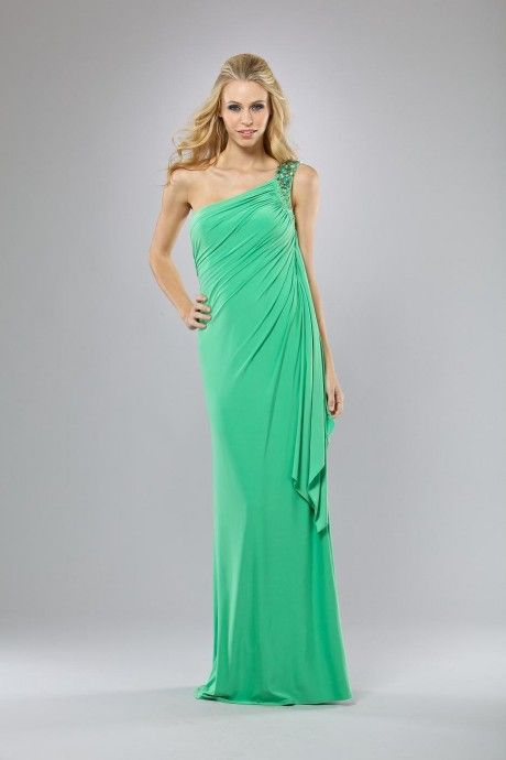 Amarisso New York long soft jersey dress with one shoulder and stones in Kelly green.