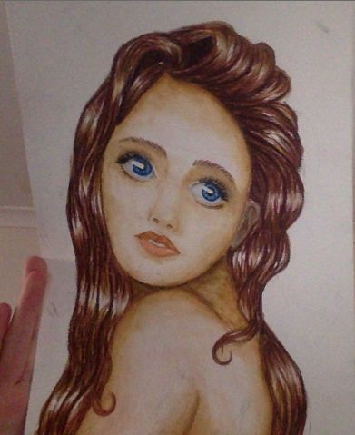 """my water colour pencil drawing of a girl. and yes, maybe it does look retarded, and maybe you are thinking """"i could do better than that"""", and maybe you can! but I'm just a teenage girl who loves to draw, not Leonardo Da Vinci, it doesn't  have to be perfect. :D"""
