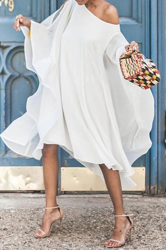 e5eccd6b638b6 Chiffon Off-The-Shoulder Sleeve Casual Dress in 2019 | 2019 Chic ...