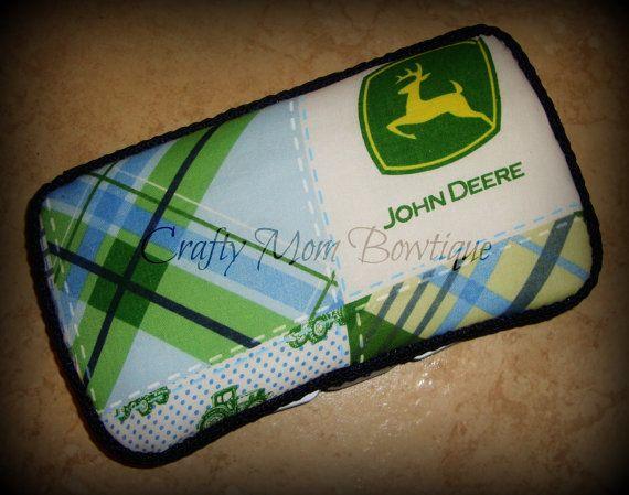 Blue John Deere Boutique Diaper Wipes Case / Boy / Country Baby / Blue / Green / John Deere via Etsy