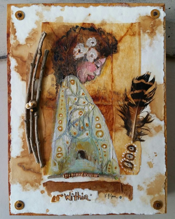 Mixed media tea bag painting...created by Victoria Gilpin