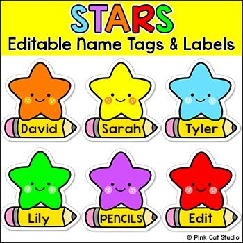 Stars Name Tags and Locker Labels by Pink Cat Studio | TpT