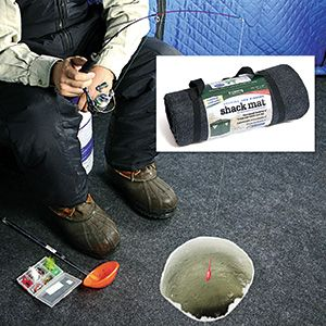 "Product # RP6060 - Stay warm and dry in your ice fishing hut! Super tough polyester material is durable and stain-resistant with a waterproof backing so it can sit right on top of ice or snow. Plush surface makes it comfortable to walk & kneel on, and it can be easily trimmed to fit. Machine washable - rolls up with carry strap to store. 60""L x 60""W  $37.49"