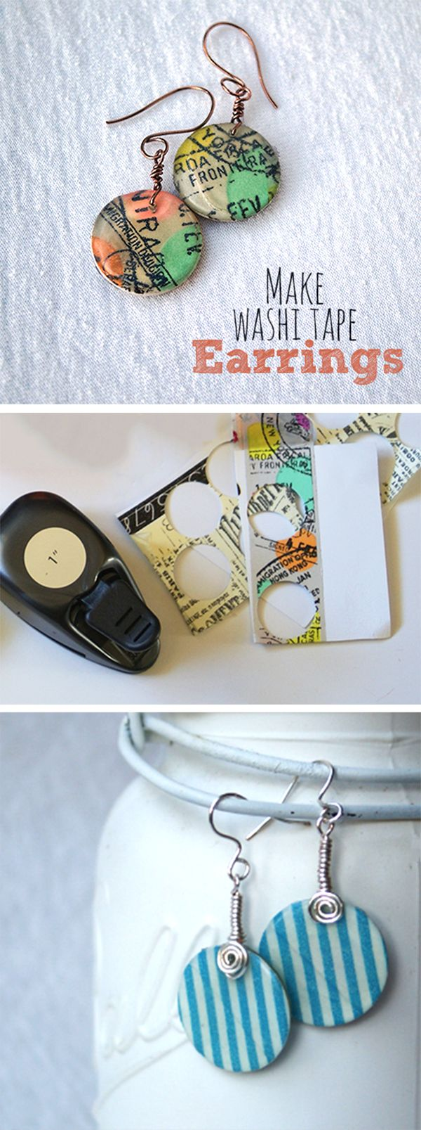 Make easy Washi Tape Earrings with Mod Podge and a circle punch!  @savedbyloves