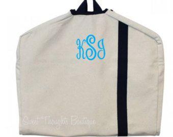 Garment Bags Monogrammed Garment Bag Canvas by heartmelter