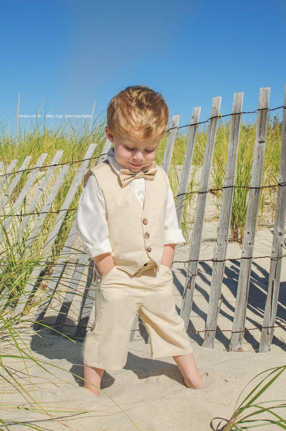 Toddler Boys Tan Suit Vest Shorts Tie Set 3 by SummerGemBoutique