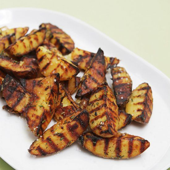 Grilled potatoes with rosemary, garlic and coarse sea salt.