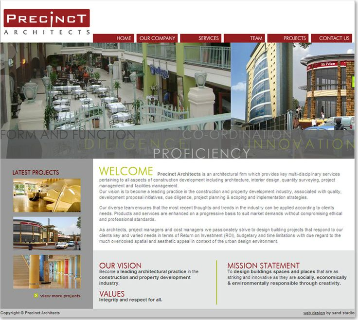 Interior and Exterior website design for Precinct Architects
