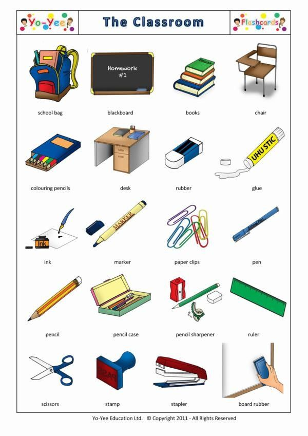 Classroom flashcards for kids | Papelería | Teaching beginners classroom vocabulary