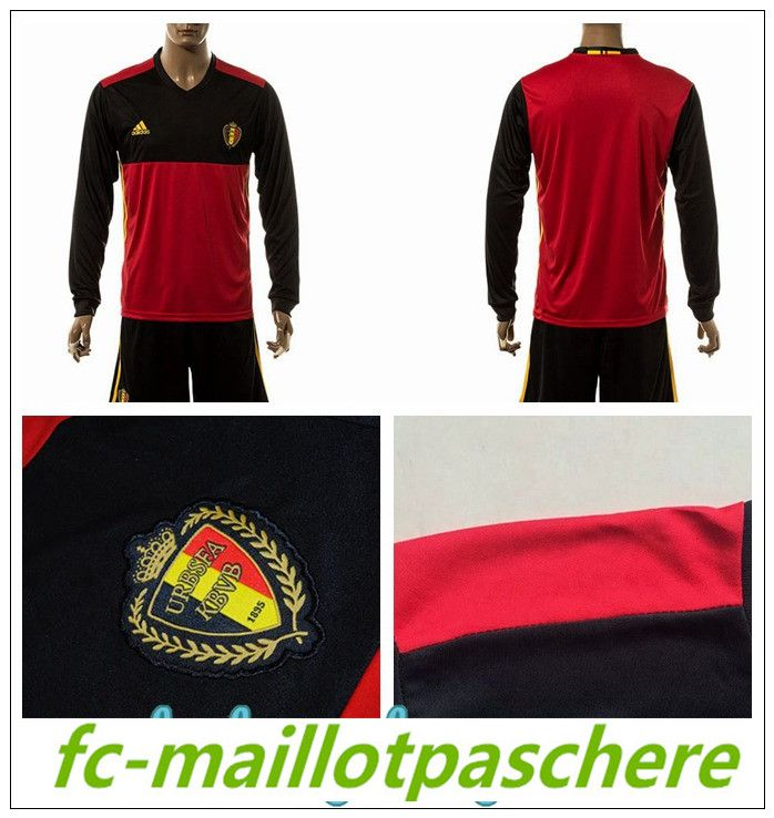 Dessin t shirt foot Belgique Euro 2016 manche longue rouge en ligne