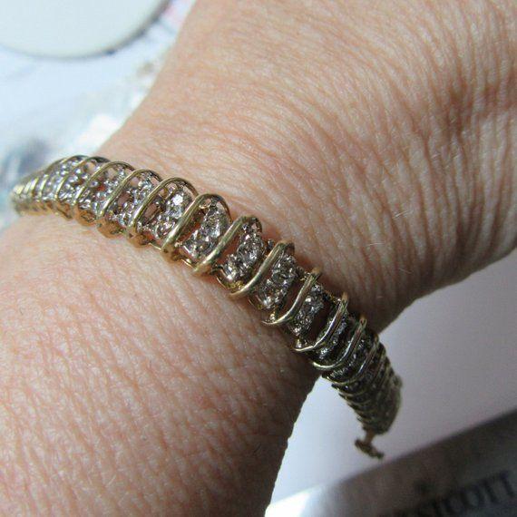 Diamond Bracelet 10 Karat Gold Bracelet 10 4 Grams Diamond Bracelet White Gold Bracelet Gold Bracelet