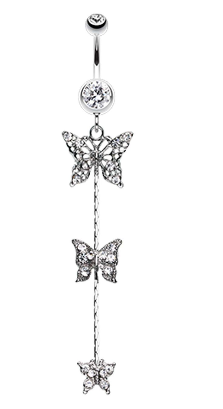 Triple Butterfly Sparkle Bauchnabel Ring   – Jewelry