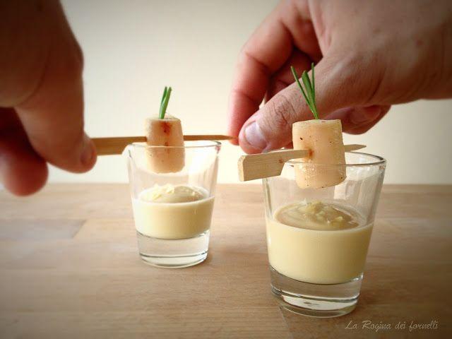 bicchierino di crema di ceci con polpo scottato La Rogina dei fornelli