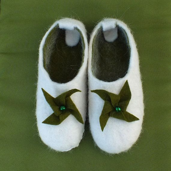 Felt Slippers House Shoes Girl or Boy Shoes Pure by FeltSoapGood, $41.00