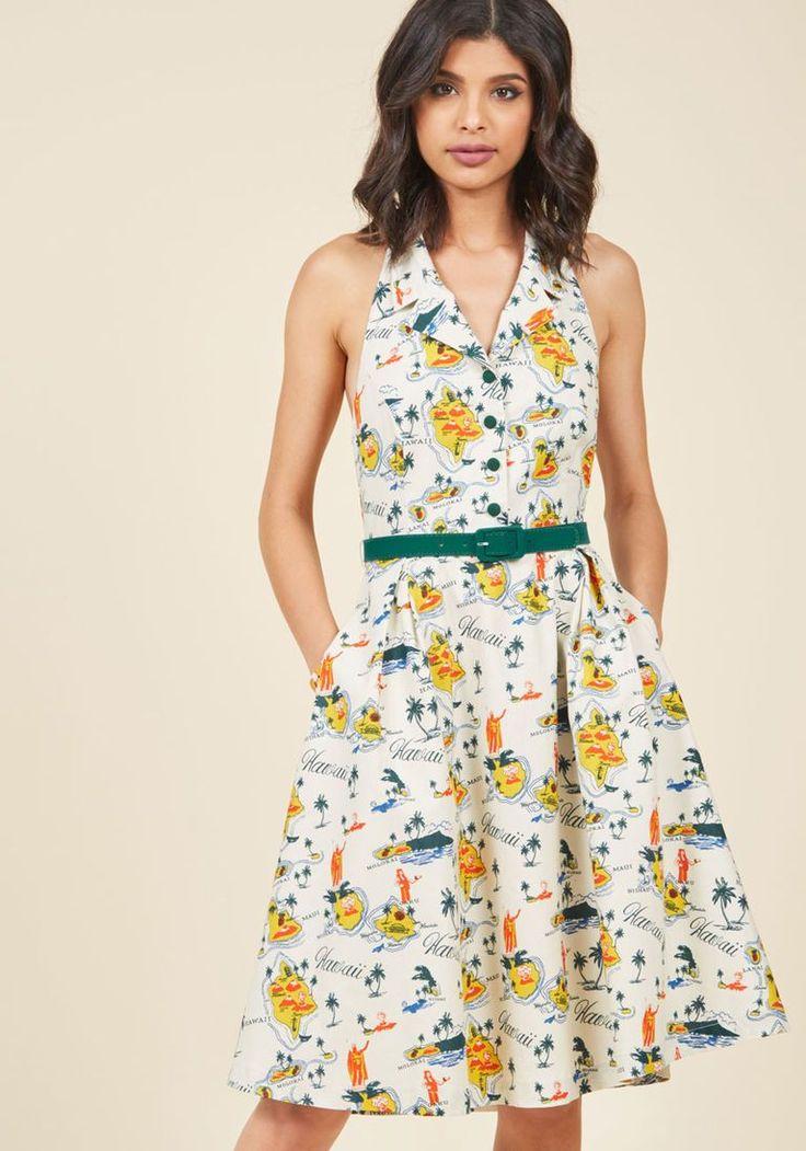 Halter Shirt Dress, Hawaiian Toile Custom Print